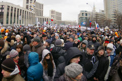 Moscow protest, 24th December 2011. Thousands rally against the election results in Russia, Saharov avenue Stock Photography