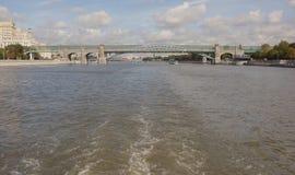 Moscow. Pushkinsky bridge. Under the bridge float ships Stock Images