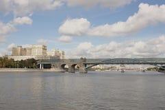 Moscow. Pushkinsky bridge. Under the bridge float ships Stock Image
