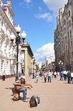 Moscow, Pussia, Musition on  Old Arbat street in summer Stock Photos