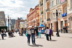 Moscow, Pussia, People walking on  Old Arbat street in summer Royalty Free Stock Images