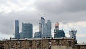 moscow RÚSSIA - 23 DE MAIO 2015 O centro de negócios do International de Moscovo MIBC é um dos projetos de construção os maiores  Imagem de Stock