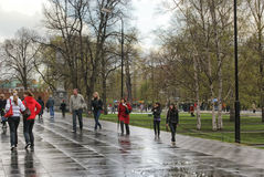 Moscow on a rainy day Stock Photos