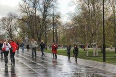 Moscow on a rainy day Stock Photos