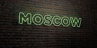 MOSCOW -Realistic Neon Sign on Brick Wall background - 3D rendered royalty free stock image Stock Image