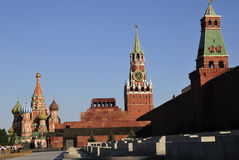 Moscow Red Square. Red Square and Walls of Moscow Kremlin with The Savior (Spasskaya ) Tower against blue sky Stock Images