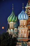 Moscow Red Square. Saint Basil's Cathedral at the Red Square in Moscow by a summer night illuminated by streetlight with Kremlin wall Royalty Free Stock Photos