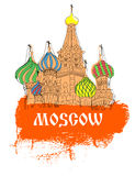 Moscow, Red Square, cathedral in orange  sketch style Royalty Free Stock Photos