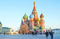 MOSCOW, RED SQUARE. RUSSIA, MOSCOW - MARCH 23 - 2016: Red square, view of St. Basil`s Cathedral Royalty Free Stock Photos