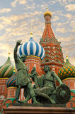 MOSCOW, RED SQUARE. Moscow,Russia,Red square, St. Basil`s Cathedral and monument to Minin and Pozharsky Royalty Free Stock Photo