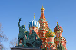 MOSCOW, RED SQUARE. Moscow,Russia,Red square, St. Basil`s Cathedral and monument to Minin and Pozharsky Stock Photos