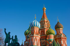 MOSCOW, RED SQUARE. Moscow,Russia,Red square, St. Basil`s Cathedral and monument to Minin and Pozharsky Royalty Free Stock Image