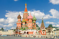 MOSCOW, RED SQUARE. Moscow,Russia,Red square,view of St. Basil`s Cathedral Stock Photos