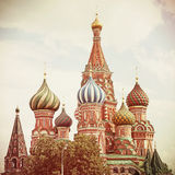 Moscow. Red Square. Saint Basil's Cathedral. Vintage retro style Stock Images