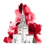 Moscow, Red square Sketch collection, iconic famous buildings. Moscow, Red square Sketch collection, iconic famous building Spasskaya tower Royalty Free Stock Photography