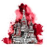 Moscow, Red square Sketch collection, iconic famous buildings. Moscow, Red square Sketch collection, iconic famous building St. Vasil cathedral Stock Image