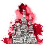 Moscow, Red square Sketch collection, iconic famous buildings. Moscow, Red square Sketch collection, iconic famous building St. Vasil cathedral Stock Photos