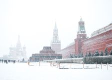 Moscow. Red square in snow. Moscow, Russia Royalty Free Stock Images