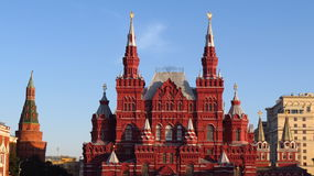 MOSCOW, RED SQUARE, State Historical Museum (NW) and GUM store Royalty Free Stock Photography