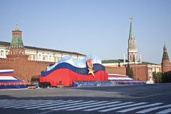 Moscow Red Square in Victory Day. Victory Day, May 9 is the greatest holiday in Russia Royalty Free Stock Photography