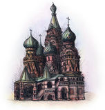 The Moscow red square watercolor hand drawing, famouse arhitectural buillding isolated Stock Images