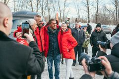 MOSCOW REGION, FRYAZINO, GREBNEVO ESTATE - MARCH 09 2019: Samy Naceri French actor of Taxi films and his brother Bibi. Nacery visiting the Grebnevo. Samy royalty free stock images