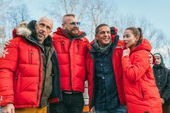 MOSCOW REGION, FRYAZINO, GREBNEVO ESTATE - MARCH 09 2019: Samy Naceri French actor of Taxi films and his brother Bibi. Nacery visiting the Grebnevo. Samy stock photography