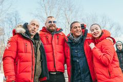 MOSCOW REGION, FRYAZINO, GREBNEVO ESTATE - MARCH 09 2019: Samy Naceri French actor of Taxi films and his brother Bibi. Nacery visiting the Grebnevo. Samy stock images
