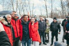 MOSCOW REGION, FRYAZINO, GREBNEVO ESTATE - MARCH 09 2019: Samy Naceri French actor of Taxi films and his brother Bibi. Nacery visiting the Grebnevo. Samy stock photos