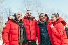MOSCOW REGION, FRYAZINO, GREBNEVO ESTATE - MARCH 09 2019: Samy Naceri French actor of Taxi films and his brother Bibi. Nacery visiting the Grebnevo. Samy royalty free stock photos