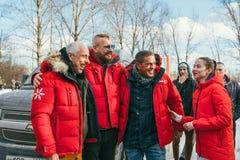 MOSCOW REGION, FRYAZINO, GREBNEVO ESTATE - MARCH 09 2019: Samy Naceri French actor of Taxi films and his brother Bibi. Nacery visiting the Grebnevo. Samy royalty free stock image