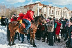 MOSCOW REGION, FRYAZINO, GREBNEVO ESTATE - MARCH 09 2019: Samy Naceri French star and actor of Taxi films and his. Brother Bibi Nacery mount a horse in front of stock photos