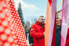 MOSCOW REGION, FRYAZINO, GREBNEVO ESTATE - MARCH 09 2019: Samy Naceri French star and actor of Taxi films and his. Brother Bibi Nacery visiting the Grebnevo stock images
