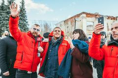 MOSCOW REGION, FRYAZINO, GREBNEVO ESTATE - MARCH 09 2019: Samy Naceri French star and actor of Taxi films and his. Brother Bibi Nacery visiting the Grebnevo stock image