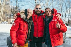 MOSCOW REGION, FRYAZINO, GREBNEVO ESTATE - MARCH 09 2019: Samy Naceri French star and actor of Taxi films and his. Brother Bibi Nacery visiting the Grebnevo royalty free stock photo