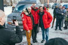 MOSCOW REGION, FRYAZINO, GREBNEVO ESTATE - MARCH 09 2019: Samy Naceri French star and actor of Taxi films and his. Brother Bibi Nacery visiting the Grebnevo royalty free stock photography