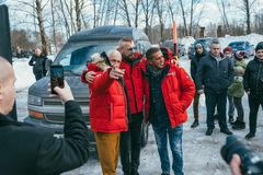 MOSCOW REGION, FRYAZINO, GREBNEVO ESTATE - MARCH 09 2019: Samy Naceri French star and actor of Taxi films and his. Brother Bibi Nacery visiting the Grebnevo stock photography