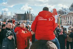 MOSCOW REGION, FRYAZINO, GREBNEVO ESTATE - MARCH 09 2019: Samy Naceri French star and actor of Taxi films mount a horse. In front of big crowd visiting the stock images