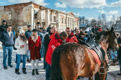 MOSCOW REGION, FRYAZINO, GREBNEVO ESTATE - MARCH 09 2019: Samy Naceri French star and actor of Taxi films mount a horse. Visiting the Grebnevo estate during royalty free stock photos