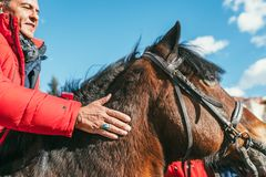 MOSCOW REGION, FRYAZINO, GREBNEVO ESTATE - MARCH 09 2019: Samy Naceri French star and actor of Taxi films mount a horse. Visiting the Grebnevo estate during royalty free stock photography