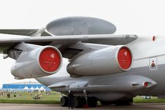 Turbojet engines and radar aircraft A-50 at the International Av. Moscow Region - July 21, 2017: Turbojet engines and radar aircraft A-50 on the codification of Royalty Free Stock Images