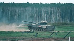 Moscow Region, Russia - August 25, 2017. Super slow motion shot of a new Russian army Sprut SD self-propelled artillery stock video footage