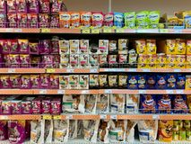 Moscow region, Russia -  June 29, 2019: Shelves in the store with food for cats and dogs.  stock image