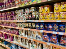 Moscow region, Russia -  June 29, 2019: Shelves in the store with food for cats and dogs.  royalty free stock image