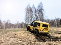Moscow region, Russia. 04.21.2017. The sport utility vehicle SUV is driving in the forest near the town of Bronnitsy, Moscow reg Royalty Free Stock Image