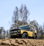 Moscow region, Russia. 04.21.2017. The sport utility vehicle SUV is driving in the forest near the town of Bronnitsy, Moscow reg Stock Image