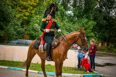 MOSCOW REGION - SEPTEMBER 06: Historical reenactment battle of Borodino at its 203 anniversary. Demonstration performances of soldier's martial arts. The Royalty Free Stock Photos