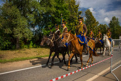 MOSCOW REGION - SEPTEMBER 06: Historical reenactment battle of Borodino at its 203 anniversary. Stock Image