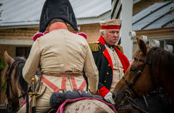 MOSCOW REGION - SEPTEMBER 06: Historical reenactment battle of Borodino at its 203 anniversary. Royalty Free Stock Image