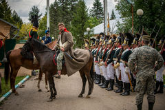 MOSCOW REGION - SEPTEMBER 06: Historical reenactment battle of Borodino at its 203 anniversary. royalty free stock photo